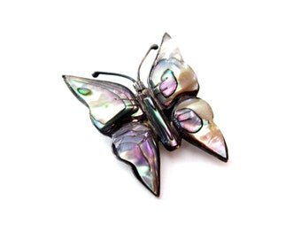 Sterling Silver 925 Mexico Signed Dainty Abalone Shell Butterfly Insect Pin / Brooch