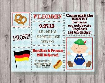 Digital Oktoberfest 1st Birthday Party Blue German Invitation Printable