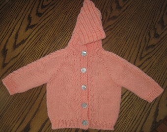 Hand Knit Hooded Baby Infant Sweater Hoodie - Size 6 to 12 Months Orange Sherbert Free US Shipping