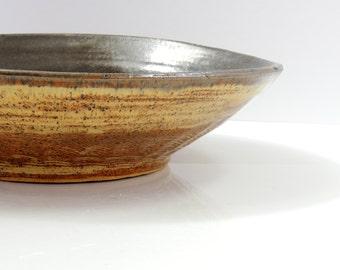 Large Ceramic Bowl, Oversized Ceramic Bowl with Olive and Blue Glaze