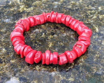 Natural Red Coral Free Form Bead Bracelet on Stretch Cord
