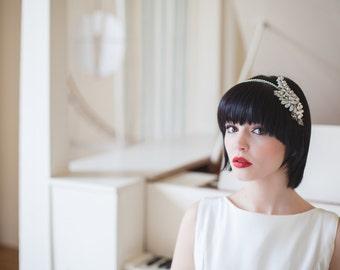 Ceres fern leaf rhinestone Art Deco great gatsby bridal headband vintage wedding