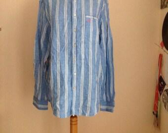 Vintage Linen Shirt Mens Button Down Striped Large L