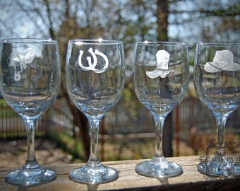 Western set of 4 etched Wine Glasses