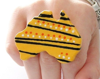 Australia Indigenous Cocktail Ring Ceramic -   big bold oversize outrageous handmade statement ring - LAND DOWNUNDER -  2.3 inch
