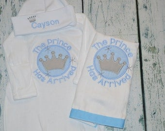 Personalized Prince Has Arrived Infant Gown Cap BurpCloth Set Layette Baby Gift
