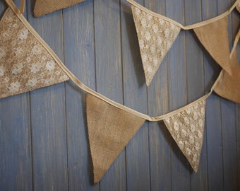 Hessian and Lace Wedding Bunting. These strands are 5m long.