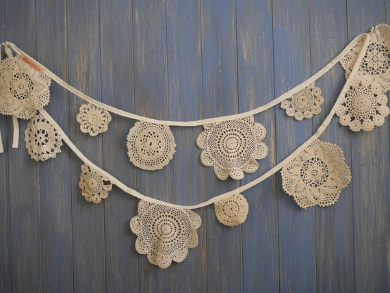 Vintage Doily Bunting. Wedding Bunting.  Crochet Vintage  doilies in Cream a 3m strand.