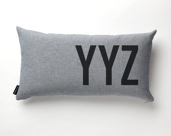 Airport Code Pillow in Denim with fill