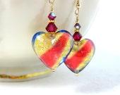 Pink Blue Gold Heart Earrings, Murano Earrings, Cottage Chic Earrings, Murano Jewlery, Heart Jewelry, Gift for Her - Cross My Heart