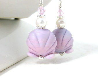 Pink Seashell Earrings, Nautical Earrings, Beach Jewelry, Ocean Earrings, Lampwork Earrings, Beach Earrings, Blue Earrings, Summer - Sally