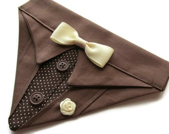 Tuxedo Suit Dog Bandana Chocolate Brown Sz XS S M