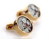 Silver Gold Steampunk Cuff links - Watch Movement Cufflinks - Wind up - Ticking