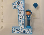 1st Birthday Boy Clothespin Doll & Number Set