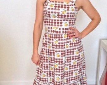 1970s French vintage white dress with brown dots and apple and pear details - small medium S M