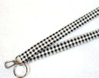 Black White Gingham Check Fabric Lanyard Breakaway Lanyard Designer ID Badge Holder Clip Key Ring Fob MTO
