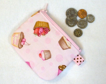 Mini Coin Purse My Little Cupcake Pink Chocolate Little Zipper Change Purse Fruit Tarts Handmade