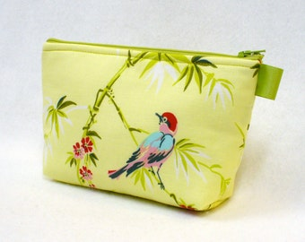 Large Cosmetic Bag Amy Butler Fabric Zipper Pouch Padded Makeup Bag Cotton Zip Pouch Temple Flowers Birds Bamboo Chartreuse Apple Green MTO