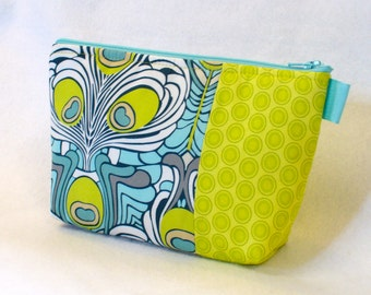 Clearance SALE Art Gallery Fabric Large Cosmetic Bag Zipper Pouch Padded Makeup Bag Cotton Peacock Feather Art Deco Lime Turquoise Navy Blue