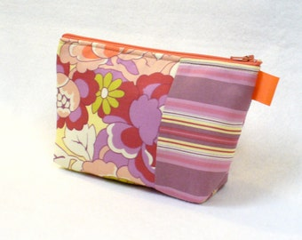 Clearance SALE Amy Butler Fabric Large Cosmetic Bag Zipper Pouch Padded Makeup Bag Cotton Cutting Garden Floral Gypsy Caravan Coral Purple