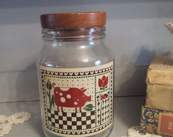 Vintage Wood top Farm Jar with Pig and Farm Checker Board Design
