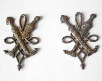 Pair of 2 vintage metal military army insignia - swords