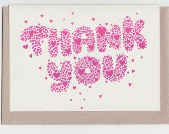 Thank You Hearts... Riso Printed Notecard