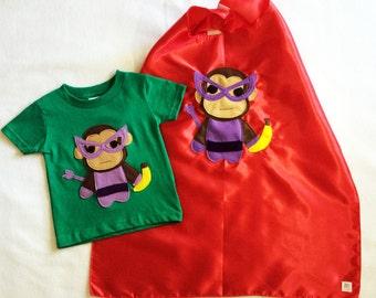 Superhero Cape and Toddler Shirt Combo - Team Super Animals - Banana Monkey Green T-Shirt & Red Cape