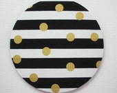 Black white gold mouse pad / Mat -  stripes with gold Metallic dots  -  round or rectangle - office accessories desk home decor