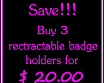 Retractable ID Badge Holders 3 for 20.00 - Badge Clip