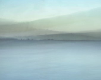 """Abstract landscape photography pale fantasy modern dreamy autumn pastel minimal lake - """"Blue tapestry"""" 8 x 10"""