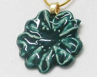 Dark Blue Green Flower Porcelain Necklace