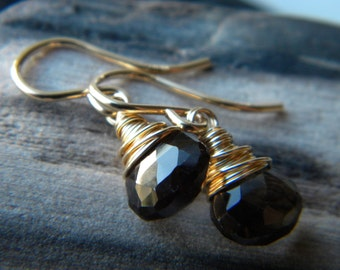 Smoky quartz wire wrapped briolette drop earrings - 14k gold filled handmade gemstone jewelry