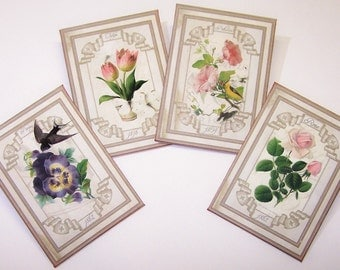 Vintage, Seed Packs, Paper, Gardening, Home Decor, French Country, Cottage Chic, Cream, Roses, Pansies, Tulips, Petunia, Digital Artwork