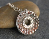 PMC Artisan Jewelry- Fine Silver Textured Round Doughnut Pendant Necklace