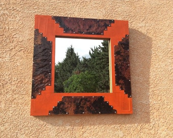 Framed Mirror of Wood and Copper in Sunset Orange
