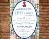 Boy Puppy Dog Madras Plaid Baby Shower Birthday Party  Invitation - DIGITAL FILE
