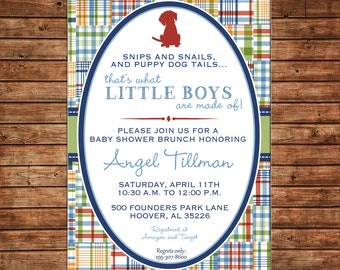 Boy Puppy Dog Madras Plaid Baby Shower Birthday Party  Invitation - DIGITAL FILE