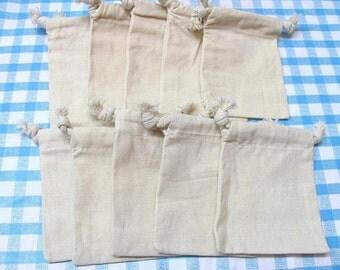3 x 4 Drawstring Plain/Natural Muslin Bags