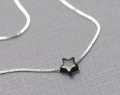 Tiny Black Onyx Star Pendant Sterling Silver Necklace, Black Star Pendant on Sterling Silver Necklace Chain, Bridesmaid Necklace