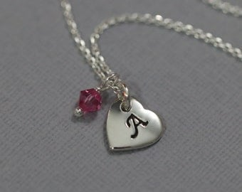 Sterling Silver Initial Heart Necklace with Birthstone Crystals, Birthstone Necklace, Flower Girl Necklace Bridesmaid Necklace, Gift for Her