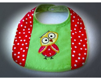 Appliqued Embroidered Baby Bib, Owl Baby Bib, 0 to 12 Months