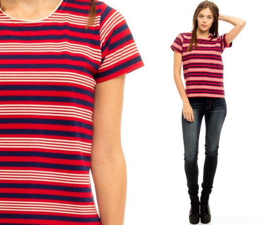 Striped tshirt 80s t shirt red white blue top ringer 90s for Red blue striped shirt