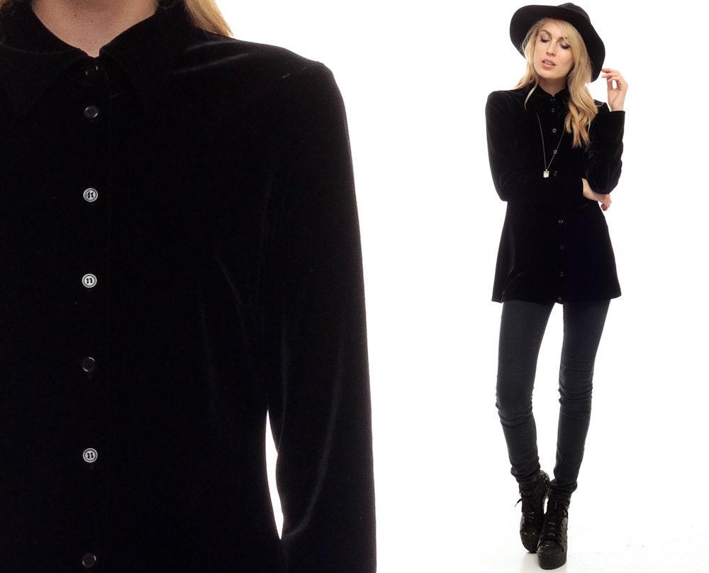Black velvet shirt 90s grunge blouse gothic button up top for Red velvet button up shirt