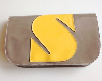 NEW! Gray & Yellow Patent Leather Letter Clutch