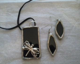 Stained Glass Black Dragonfly Pendant and Earrings