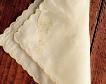 "Adorable Pale Yellow  Handkerchief/hanky with ""Wednesday"" Monogrammed in  Yellow. Scalloped"