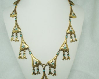 Vintage Egytian Style Necklace with Turquoise colored Bead Accents