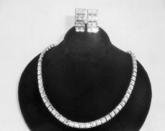 Vintage Miriam Haskell Clear Rhinestone Necklace and Earring Set PRICE REDUCTION!
