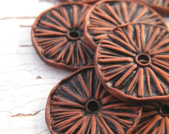 Mustang Brown - Rustic Aster Wheel carved tribal boho chic wildflower disc beads - set of 2 beads (ready to ship)